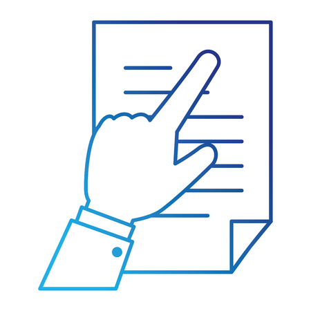 Hand human with document paper isolated icon illustration design Illustration