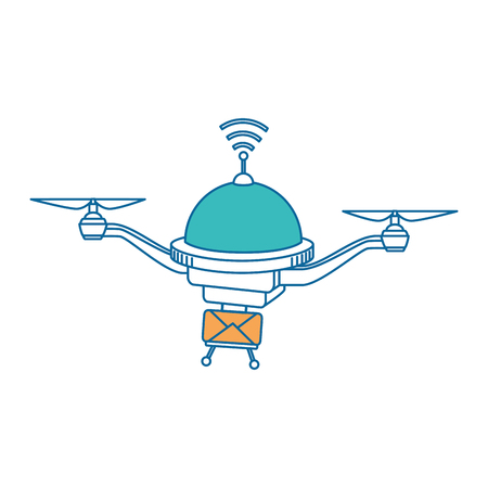 Quadcopter vliegende technologie met envelopillustratieontwerp Stockfoto - 86640863