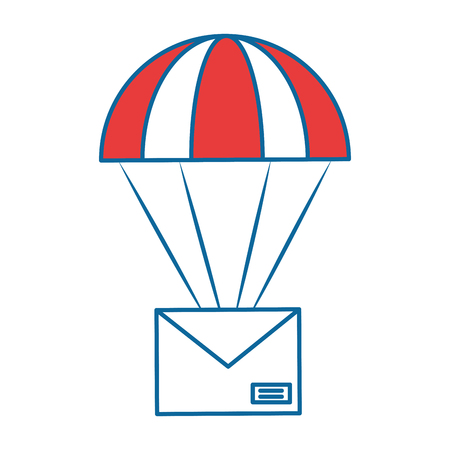 Parachute with envelope mail isolated icon illustration design