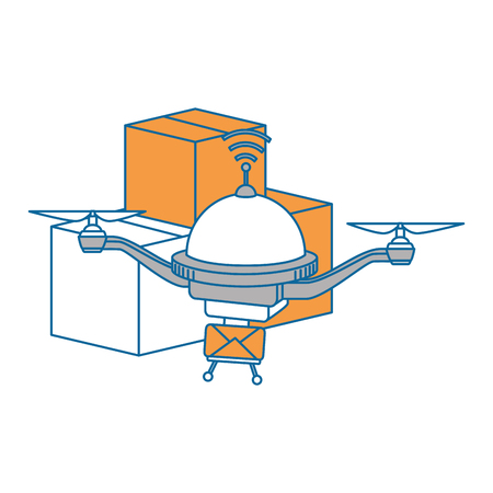 drone flying technology with boxes vector illustration design