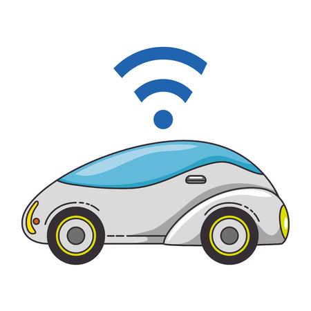 Modern car futuristic with wireless signal illustration design