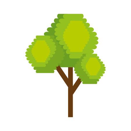 Tree plant pixelated icon illustration design