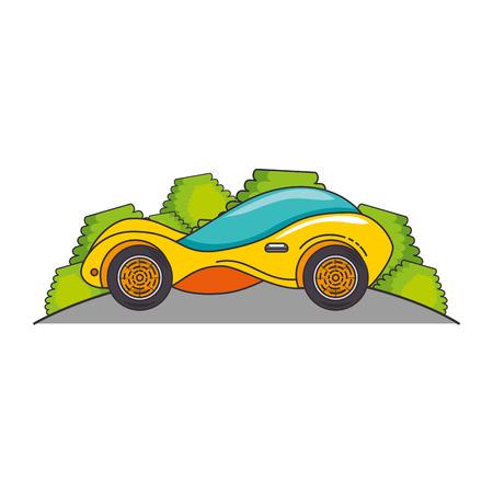 Modern car futuristic in the road illustration design