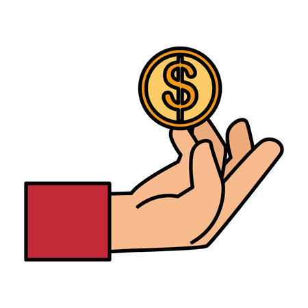 A hand holding coin isolated icon vector illustration design