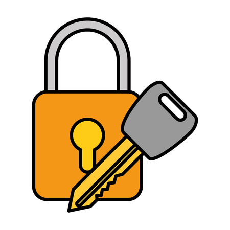 A safe padlock with key vector illustration design