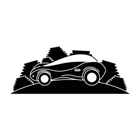 moderne auto futuristisch in het ontwerp van de weg vectorillustratie