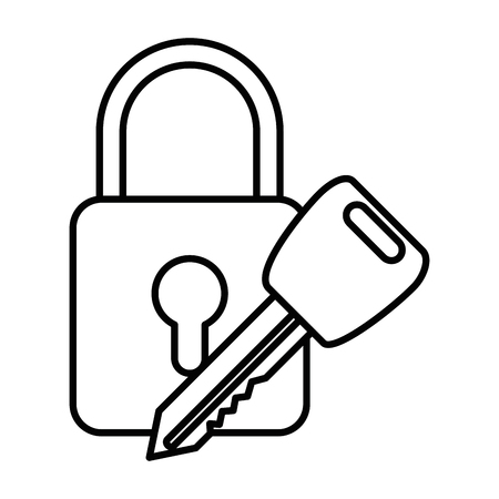 safe padlock with key vector illustration design Stock Vector - 86640995