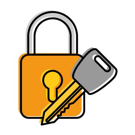 safe padlock with key vector illustration design Stock Vector - 86641049