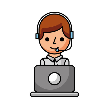 operator of call center office working in headphones with mic at her laptop computer vector illustration Banco de Imagens - 86641075