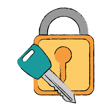 safe padlock with key vector illustration design Stock Vector - 86641077