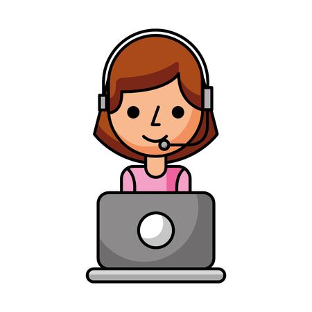 portret pracownika centrum obsługi klienta operatora call center z ilustracji wektorowych zestawu słuchawkowego