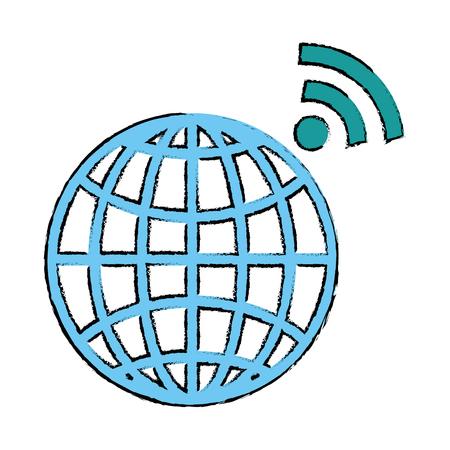 wifi 信号ベクトルイラストデザインの惑星球
