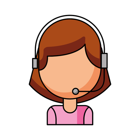 operator of call center office working in headphones with mic at her laptop computer vector illustration Banco de Imagens - 86641084