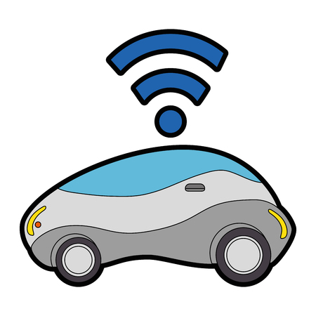 modern car futuristic with wireless signal vector illustration design