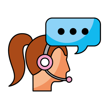 call center woman operator customer support and speech bubble vector illustration 向量圖像