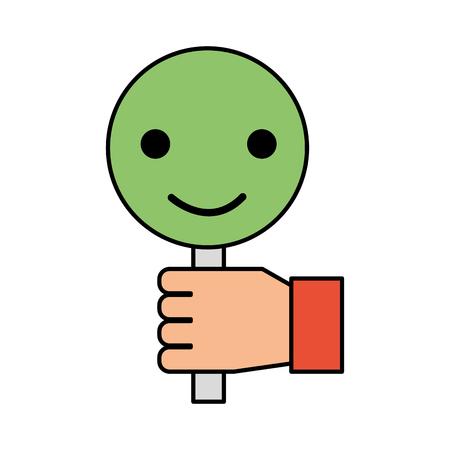 プラカード スマイル コール センター顧客アイコン ベクトル図を持っている手