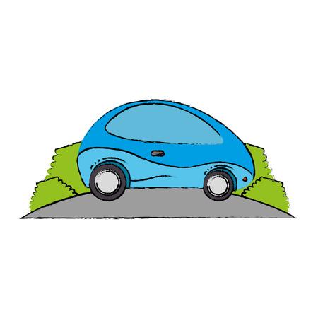modern car futuristic in the road vector illustration design Illusztráció