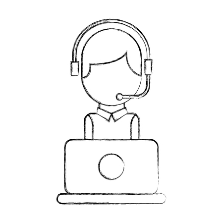 operator of call center office working in headphones with mic at her laptop computer vector illustration Banco de Imagens - 86641162
