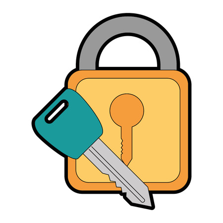 safe padlock with key vector illustration design Stock Vector - 86641171