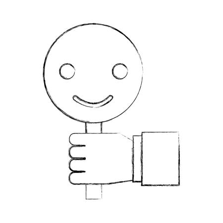 hand met plakkaat smiley call center klant pictogram vectorillustratie Stock Illustratie