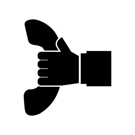 hand holding telephone support call center vector illustration Ilustração