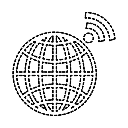 planet sphere with wifi signal vector illustration design Ilustrace