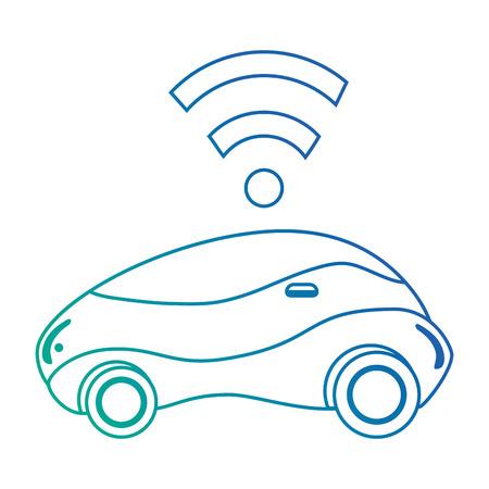 modern car futuristic with wireless signal vector illustration design