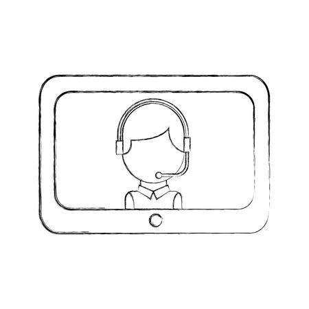 technology customer service operator online support vector illustration