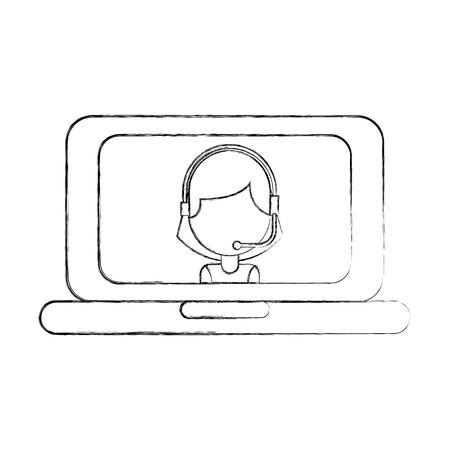 customer service helpline online agent vector illustration