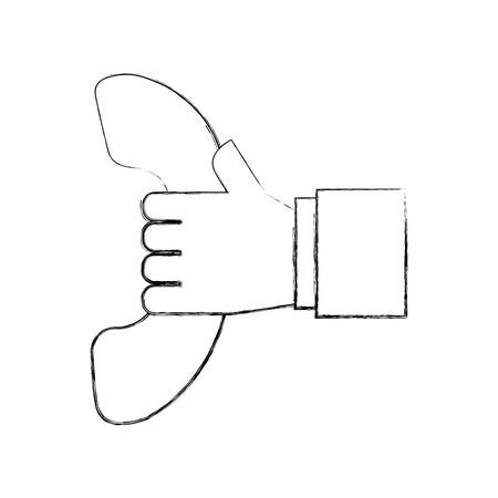 hand met telefoon ondersteuning call center vector illustratie