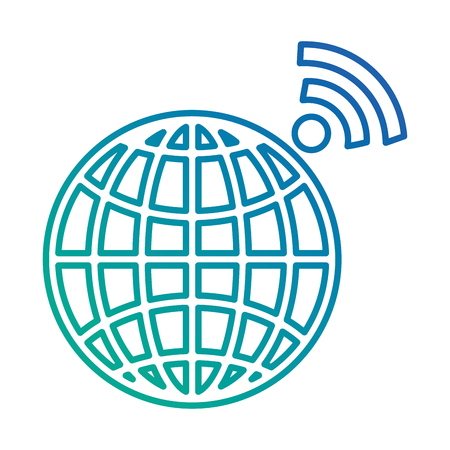 planet sphere with wifi signal vector illustration design Иллюстрация