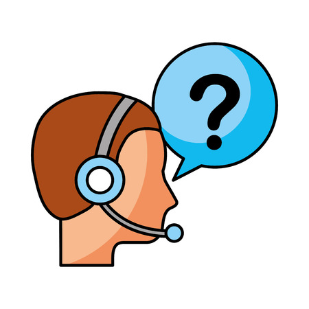 customer service operator with headset and speech bubble vector illustration Illustration