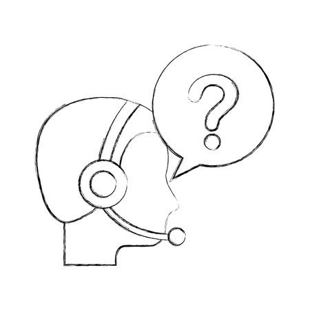 klantenservice exploitant met headset en toespraak bubble vectorillustratie