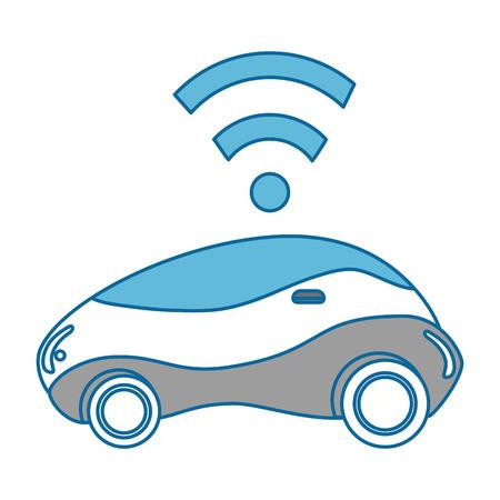 현대 자동차 미래의 무선 신호 벡터 일러스트 디자인 일러스트