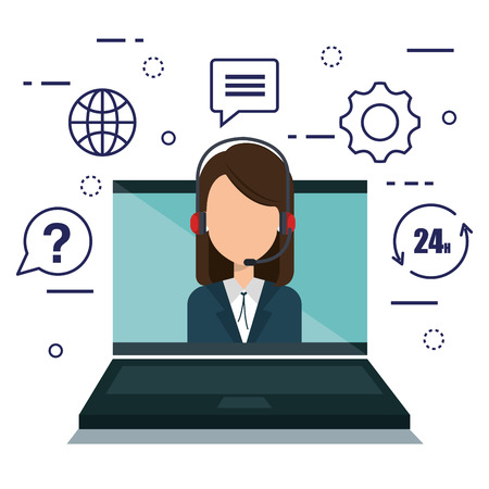 customer service agent with settings vector illustration design