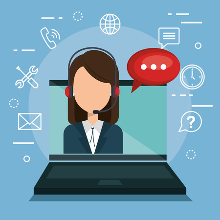 girl laptop: customer service agent with settings vector illustration design