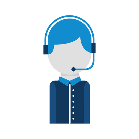 call center operator with phone headset vector illustration Imagens - 86641595