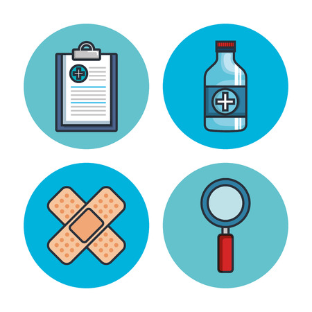 A health medicine set icons vector illustration design