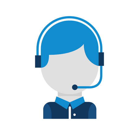call center operator with phone headset vector illustration Çizim