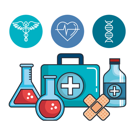 Health medicine set icons vector illustration design.