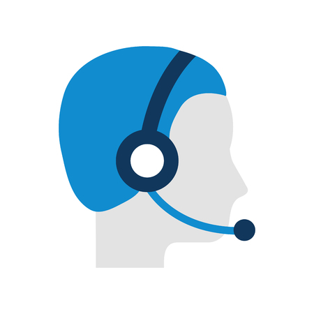 profile man operator of customer service with headset work vector illustration Banco de Imagens - 86641632