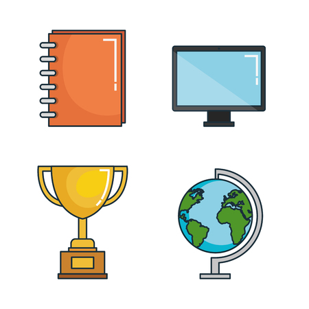 education tools set icons vector illustration design