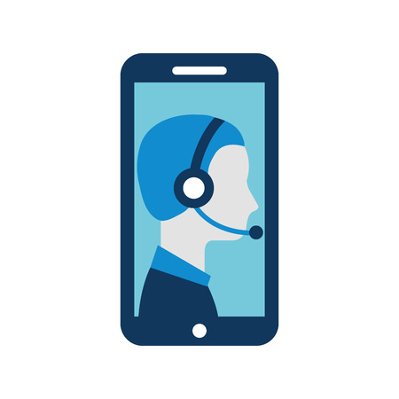 contact support customer service smartphone online specialist vector illustration