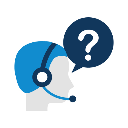 ヘッドセットと音声のバブル ベクトル図とカスタマー サービス オペレーター