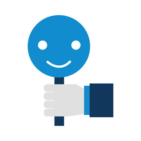 hand holding placard smiley call center customer icon vector illustration