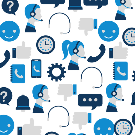 customer service support communication operator seamless pattern vector illustration