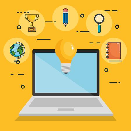 online onderwijs set iconen vectorillustratieontwerp