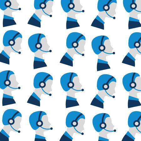 顧客サービスのシームレスなパターン ベクトル イラストの男性オペレーターをプロファイルします。