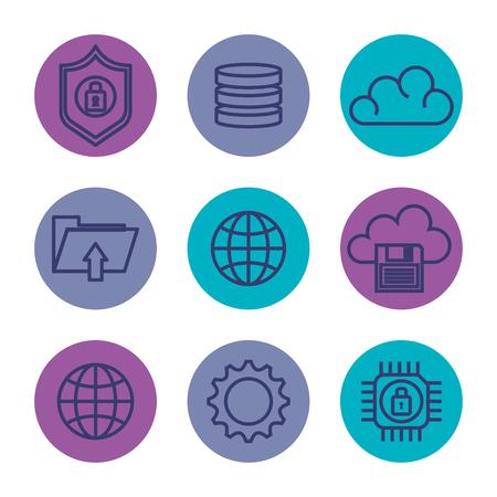 data center set flat icons vector illustration design