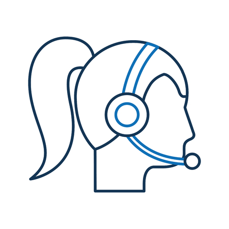 operator woman profile customer service wearing headphones and microphone vector illustration Stok Fotoğraf - 86641700